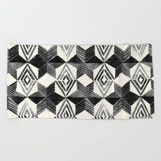 Shibori Diamond Stars Black Earth and Ivory Beach Towel