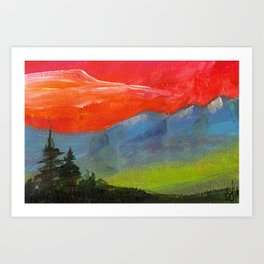 Red sky at night Art Print
