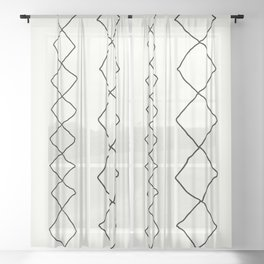 Moroccan Diamond Stripe in Black and White Sheer Curtain