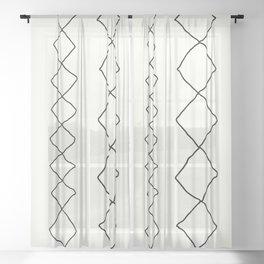 Moroccan Diamond Stripe in Black and White Sheer Curtain