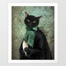 Rococo Cat - The Case of the Missing Fish Art Print