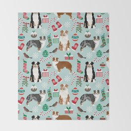 Australian Shepherd christmas festive holiday dog breed gifts for holidays Throw Blanket