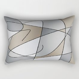 ABSTRACT CURVES #2 (Grays & Beiges) Rectangular Pillow