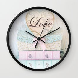 Love Heart Books Wall Clock