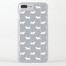 Basset Hound silhouette grey and white dog art dog breed pattern simple minimal Clear iPhone Case