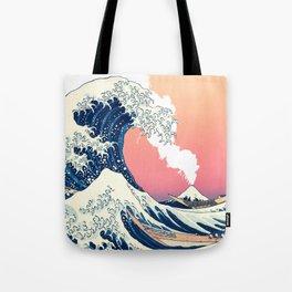 Great Wave Off Kanagawa Mount Fuji Eruption and Gradient Pink and Orange Tote Bag