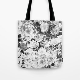 Black gray modern watercolor roses floral pattern Tote Bag