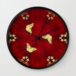 gold butterflies and flowers on red kaleidoscope Wall Clock