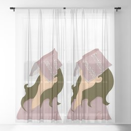 Emotionally unavailable bored brunette girl  Sheer Curtain