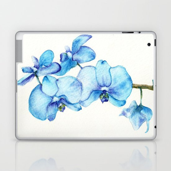 Blue Orchids Two - Watercolor Laptop & iPad Skin