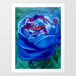 Abstract Blue Rose Art Print
