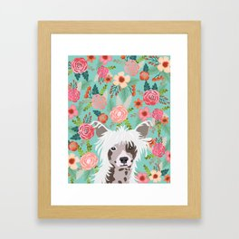 Chinese Crested floral dog breed pattern cute dog gifts for dog lovers Framed Art Print