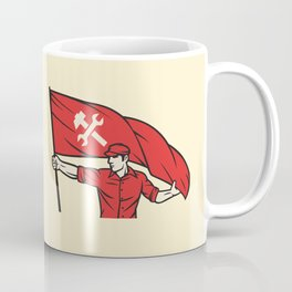 worker holding a flag - industry poster (design for labor day) Coffee Mug
