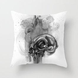 Cat Skull Charcoal Drawing Throw Pillow