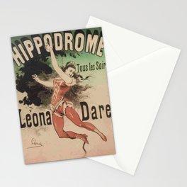 Hippodrome Leona Dare 1883 By Jules Cheret | Reproduction Art Nouveau Stationery Cards