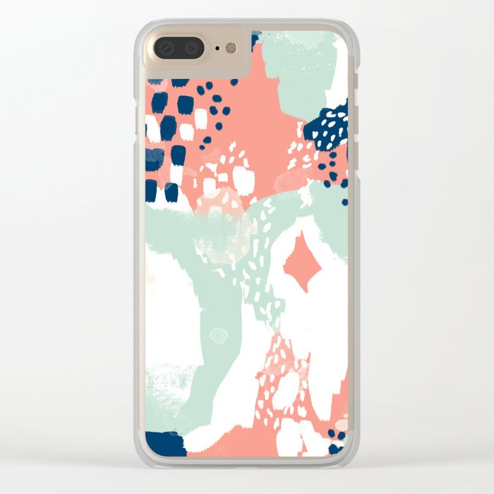 Kayl - abstract painting minimal coral mint navy color palette boho hipster decor nursery Clear iPhone Case