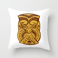 maori Throw Pillows featuring Maori Mask Woodcut by patrimonio