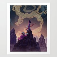 dragonball Art Prints featuring Dragonball - The Journey Begins by Kim Herbst