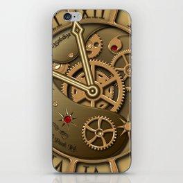 Steampunk clock gold iPhone Skin