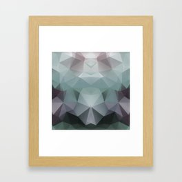 Abstract geometric polygonal pattern in grey and green tones . Framed Art Print