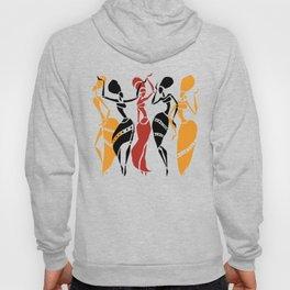 Abstract African dancers silhouette. Figures of african women. Hoody