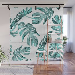 Turquoise Palm Leaves on White Wood Wall Mural