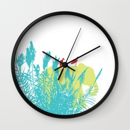 Pastel Symbiosis between Elephant and Bird Wall Clock