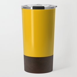 Color Block Golden Yellow & Leather Travel Mug