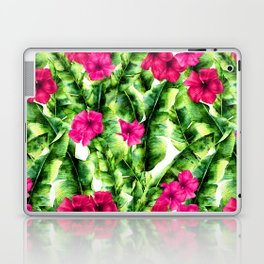 green banana palm leaves and pink flowers Laptop & iPad Skin