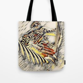 1177s-AK Erotica in the Style of Kandinsky Fingers on Pubis Striped Nude Tote Bag