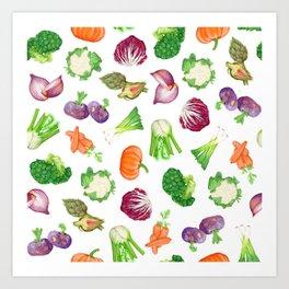 Veggies illustrations pattern   Watercolor farm veggies   Vegan pattern Art Print