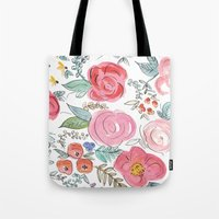 jenna kutcher Tote Bags featuring Watercolor Floral Print by Jenna Kutcher