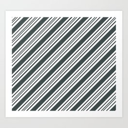 PPG Night Watch Pewter Green and Dark Green Thick and Thin Angled Lines - Stripes Art Print