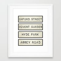 calendars Framed Art Prints featuring London by Shabby Studios Design & Illustrations ..