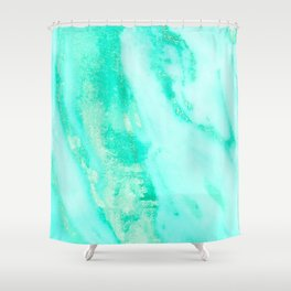 Shimmery Sea Green Turquoise Marble Metallic Shower Curtain