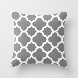 Gray Quatrefoil Throw Pillow