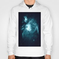 nebula Hoodies featuring Orion nebula : Teal Galaxy by 2sweet4words Designs