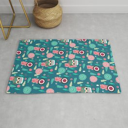 Owls and flowers in blue Rug