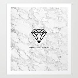Diamond with Marble Art Print