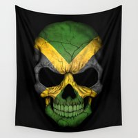 jamaica Wall Tapestries featuring Dark Skull with Flag of Jamaica by Jeff Bartels