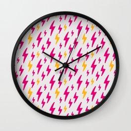 Retro Hand Drawn Lightning Pattern Wall Clock