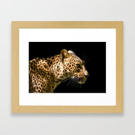Leopard on black - side Framed Art Print