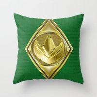 power ranger Throw Pillows featuring Green Ranger by Joshua Epling