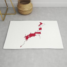 Japanese Map and Flag Rug
