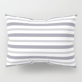 Pantone Lilac Gray and White Stripes, Wide and Narrow Horizontal Line Pattern Pillow Sham
