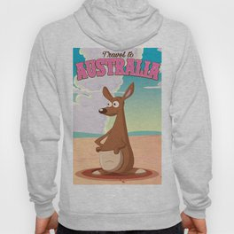 Travel To Australia cartoon kangaroo travel poster Hoody
