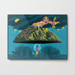 Krishna and Indra Metal Print