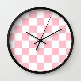 Checkered - White and Pink Wall Clock