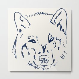 a WOLF at the door Metal Print