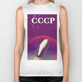 CCCP vintage space poster Biker Tank